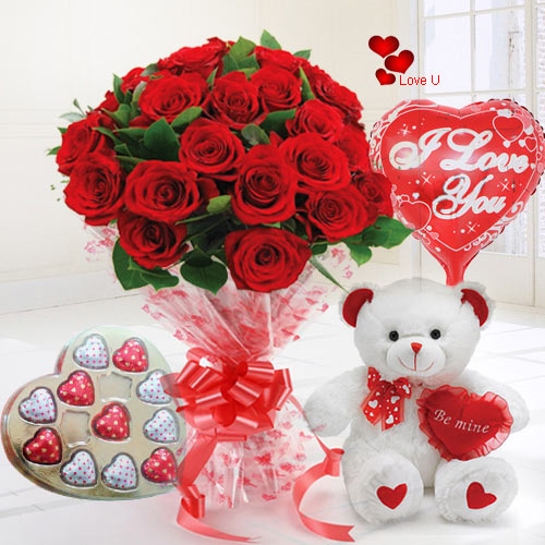 24 Exclusive Red Dutch Roses Bouquet and Heart Shape Chocolate Box, Heart Shape Balloon and Small Teddy Bear