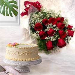Send Online Red Roses with Eggless Cake