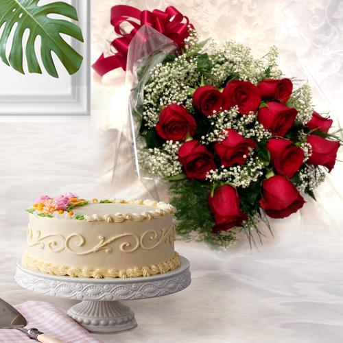 Dutch Roses Bunch N Eggless Cake