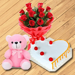 Shop Red Roses with Teddy N Heart Shaped Cake Online