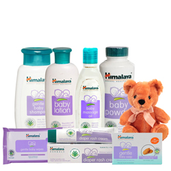 Mesmerizing Himalaya Baby Care Gift Pack with Adorable Teddy