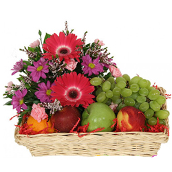 Delightful Basket of Fruits N Flowers Combo