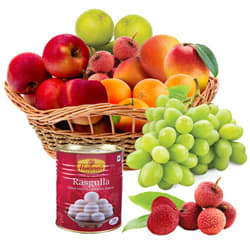 Wholesome Fresh Fruits Basket with Haldirams Rasgulla