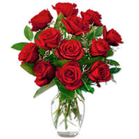 Arrangement of Red Roses in a Vase
