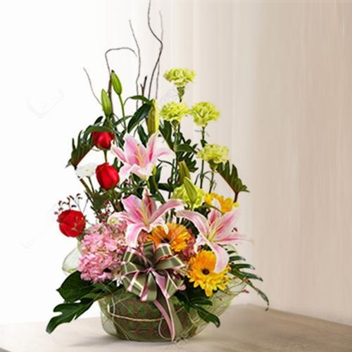 Exciting Large Shaped Mixed Flowers Arrangement