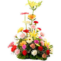 Lovely Arrangement of Multi-Hued Flowers Online