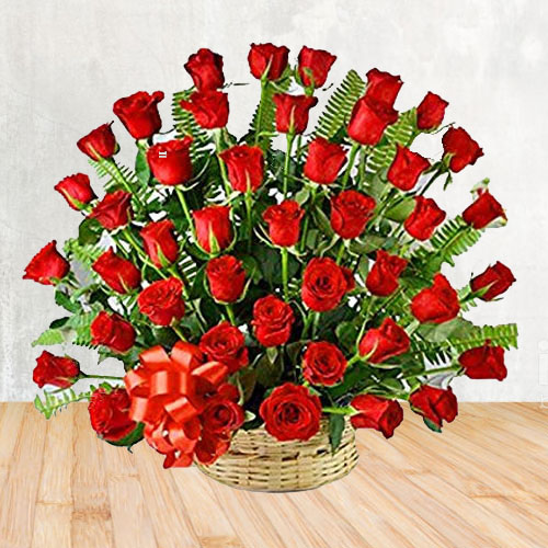 Wonderful Red Roses Basket Arrangement