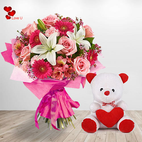 Beautiful Mixed Flower Gift Bouquet with Teddy