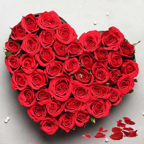 Special Heart Shaped Arrangement of Red Roses