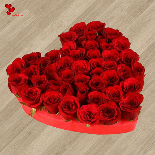 Miraculous 101 Heart Shaped Red Roses Arrangement