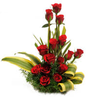 Perfect Red Roses Basket Online