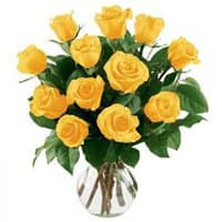 Glorious Yellow Roses Arranged in a Vase