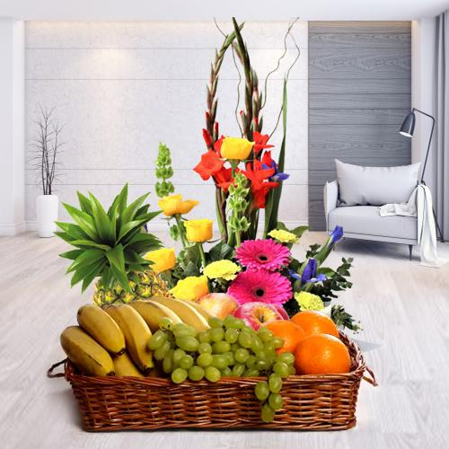 Delicious Fruits Basket with Fresh Flowers