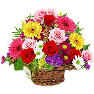 Lovely Basket of Mixed Flowers