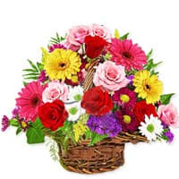 Pretty Mixed Florals Basket