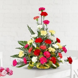 Special Arrangement of 30 Mixed Carnations to India.