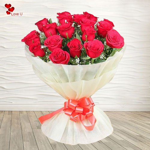 Mesmerizing Bouquet of 18 Red Dutch Roses