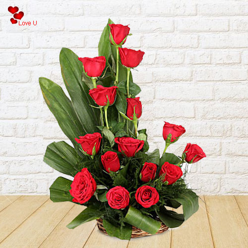 15 Incredible Dutch Red Roses bedecked in Cane Basket