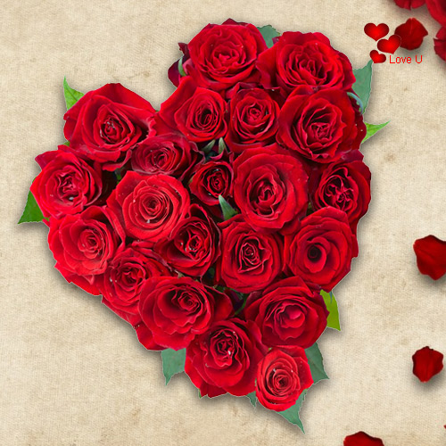 Brilliant Heart Shaped Arrangement of Red Roses
