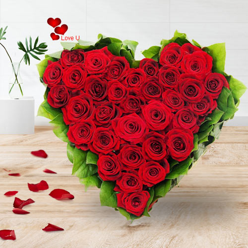 Awesome Heart Shaped Red Dutch Rose Arrangement