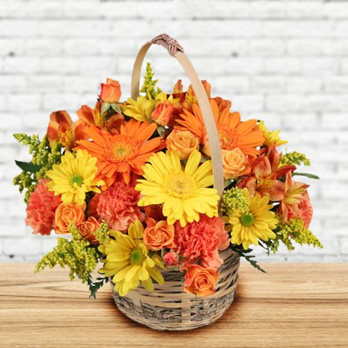 Eye-Catching Basket of Mixed Flowers