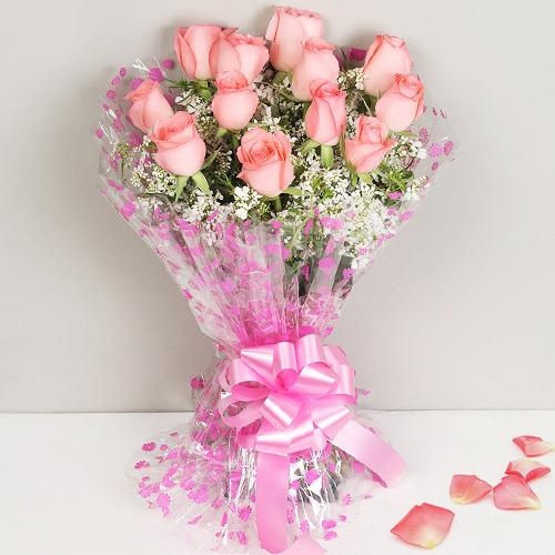 Attractive Bunch of 12 Pink Roses