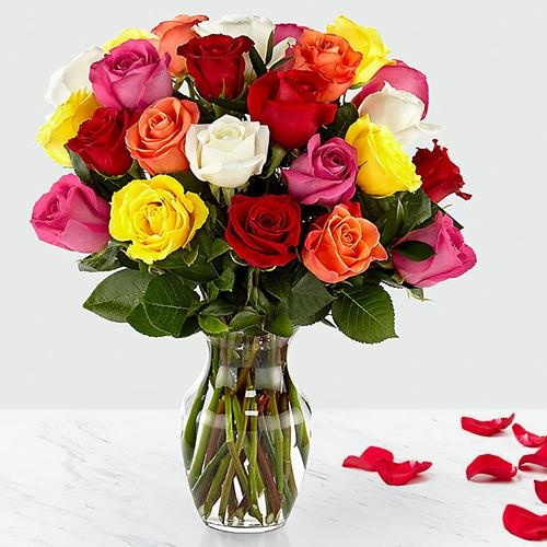 Outstanding 24 Mixed Roses in Vase