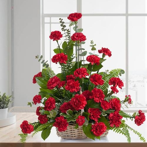 Auspicious Twelve Red Carnations Basket with Warm Love