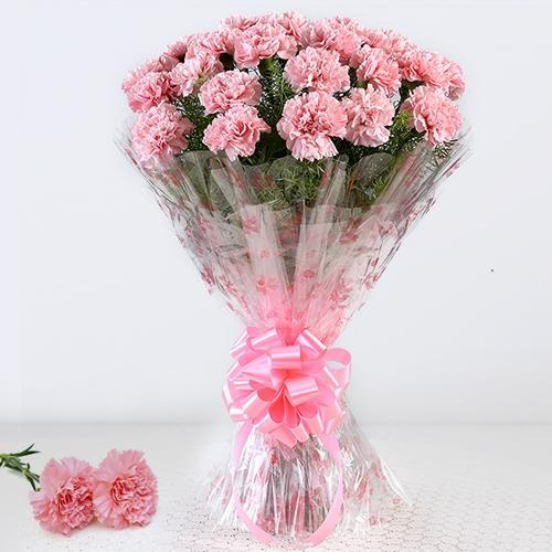 Auspicious Bouquet of 12 Pink Carnations with Impression of Love