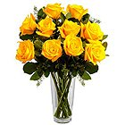 Sweet Combination of Yellow Roses in a Vase