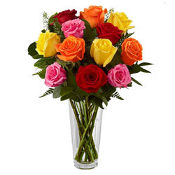 Beautiful Mixed Roses in Vase