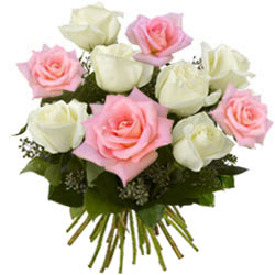 Lovely Pink and White Roses Bouquet