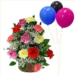 Assorted Carnations Basket with Balloons