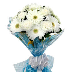 Beautiful White Gerberas Bunch with Fillers