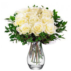 Attractive Vase Arrangement of White Roses