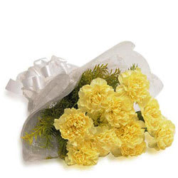 Dazzling Bouquet of Yellow Carnations