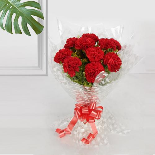 Elegant Red Carnations Bouquet