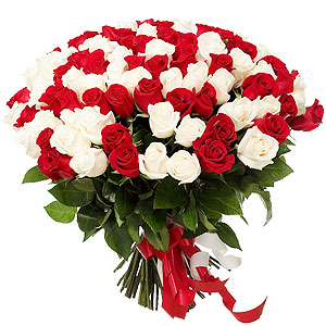 Forever Novel Red  N White Roses Assort