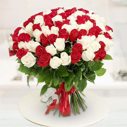 Exotic Red n White Roses Bunch