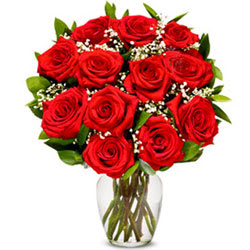 Ravishing Red Roses in a Glass Vase