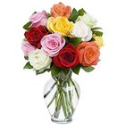 Spectacular Arrangement of Mixed Roses in a Glass Vase