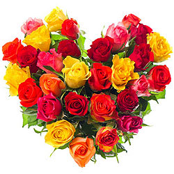 Vibrant Heart Shape Arrangement of Assorted Roses