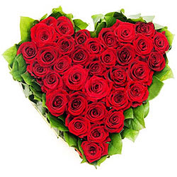 Eye-Catching Heart Shaped Arrangement of Roses