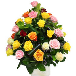 Radiant Heart to Heart Mixed Roses Arrangement