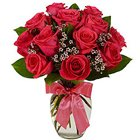 Premium Signature Red Roses Bunch in a Glass Vase