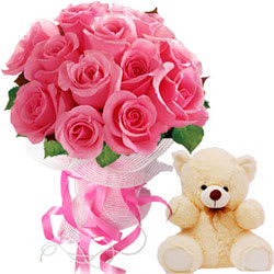 Bouquet of Pink Roses with Teddy