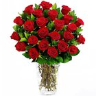 Ornamental Bouquet of Pure Red Roses in a Glass Vase