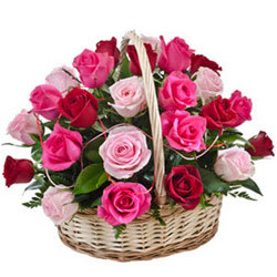 Awesome Basket of Pink N Red Roses