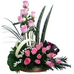 Silky-Smooth Premium Arrangement of Pink Roses Accented with Greens