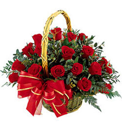 Blossoming Arrangement of Red Roses in a Basket
